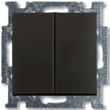 1012-0-2177 - Выключатель двухклавишный ABB Basic 55, простой (шато-черный)