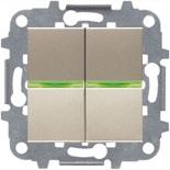 N2101 CV (2 шт.) + N2191 VD (2 шт.) + N2271.9 (1 шт.) - Выключатель 2-клавишный с подсветкой, 16А, АВВ Зенит (шампань)