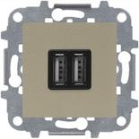 N2285 CV (1 шт.) + N2271.9 (1 шт.) - Механизм USB зарядного устройства, 2х750 мА / 1х1500 мА, Zenit (шампань)