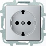 8188.9+2CLA858890A1301 - Розетка электрическая SCHUKO со шторками, 2К+З, с плоской поверхностью, 16А/250В, с накладкой ABB SKY (серебристый)