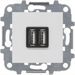 N2285 BL (1 шт.) + N2271.9 (1 шт.) - Механизм USB зарядного устройства, 2х750 мА / 1х1500 мА, Zenit (белый)