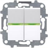 N2101 BL (2 шт.) + N2191 VD (2 шт.) + N2271.9 (1 шт.) - Выключатель двухклавишный с подсветкой, 16А, ABB ZENIT (белый)