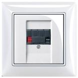 0230-0-0404 + 1724-0-4275 - Розетка акустическая ABB Basic 55 (белая с черной вставкой)