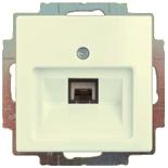 13010425 (1 шт.) + 1753-0-0210 (1 шт.) - Розетка телефонная FMT (RJ-11/12) 1 разъем ABB Basic 55 (шале-белая)