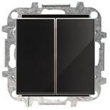 8122+2CLA851100A2501 - Переключатель двухклавишный, 10А, с клавишей ABB Sky (черное стекло)