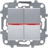 N2110 PL (2 шт.) + N2192 RJ (2 шт.) + N2271.9 (1 шт.) - Переключатель 2-клавишный промежуточный с подсветкой, 16А, ABB ZENIT (серебристый)