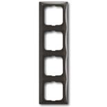 1725-0-1509 - Четырехместная рамка с декоративной накладкой ABB Basic 55 (шато-черная)