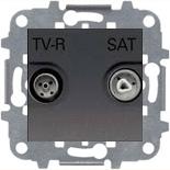 N2251.8 AN (1 шт.) + N2271.9 (1 шт.) - Розетка TV-R/SAT проходная, АВВ Зенит (антрацит)