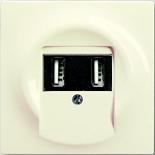 6400-0-0002+1753-0-0055 - Зарядка USB двойная, 1400мА (по 700мА на каждое гнездо), с лицевой панелью ABB Impuls (слоновая кость)