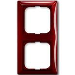1725-0-1517 - Двухместная рамка с декоративной накладкой ABB Basic 55 (красная)
