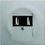 6400-0-0002+1753-0-0056 - Зарядка USB двойная, 1400мА (по 700мА на каждое гнездо), с лицевой панелью ABB Impuls (серебристый металлик)