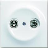 0230-0-0268+1753-0-4963 - Розетка TV-FM проходная, с лицевой панелью ABB Impuls (альпийский белый)