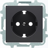 8188.9+2CLA858890A1501 - Розетка электрическая SCHUKO со шторками, 2К+З, с плоской поверхностью, 16А/250В, с накладкой ABB SKY (чёрный бархат)