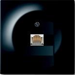 EPUAE8UPOK6+1753-0-0953 - Розетка компьютерная одноместная с механизмом Jung (RJ45), категория 6, с лицевой панелью ABB Impuls (черный бриллиант)