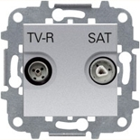 N2251.8 PL (1 шт.) + N2271.9 (1 шт.) - Розетка TV-R/SAT проходная, АББ Зенит (серебристая)