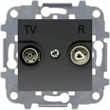 8150.7 (1 шт.) + N2250.8 AN (1 шт.) + N2271.9 (1 шт.) - Розетка TV-R проходная, ABB Zenit (антрацит)