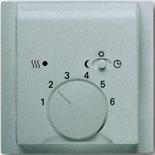 1032-0-0498+1710-0-3747 - Терморегулятор для тёплого пола с электроподогревом, 16А/250В, с лицевой панелью ABB Impuls (серебристый металлик)