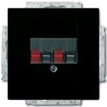 0230-0-0404 (1 шт.) + 1724-0-4315 (1 шт.) - Розетка акустическая ABB Basic 55 (шато-черная с черной вставкой)