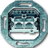 0230-0-0235 - Механизм розетки телефонной двойной, для коннекторов RJ11/RJ12 и RJ45, ABB
