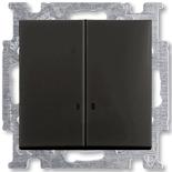 1012-0-2178 - Выключатель двухклавишный с подсветкой ABB Basic 55 (шато-черный)
