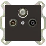 1724-0-4314 (1 шт.) + S4110 (1 шт.) - Розетка TV-FM-SAT проходная Jung с лицевой панелью Basic 55 (шато-черная)