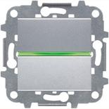 N2201 PL (1 шт.) + N2191 VD (1 шт.) + N2271.9 (1 шт.) - Выключатель одноклавишный с подсветкой, 16А, ABB ZENIT (серебристый)