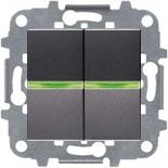 N2101 AN (2 шт.) + N2191 VD (2 шт.) + N2271.9 (1 шт.) - Выключатель двухклавишный с подсветкой, 16А, АВВ Зенит (антрацит)