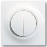 1012-0-1671+1753-0-4856 - Переключатель двухклавишный с подсветкой, с клавишами ABB Impuls (альпийский белый)