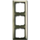 1725-0-1528 - Трехместная рамка с декоративной накладкой ABB Basic 55 (бежевая)