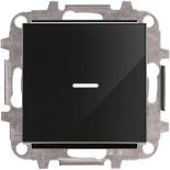 8110+2CLA819202A1001+2CLA850130A2501 - Переключатель одноклавишный проходной (перекрёстный) с подсветкой, 10А, с клавишей ABB Sky (черное стекло)