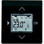 1032-0-0509+6430-0-0382 - Терморегулятор (термостат) электронный для тёплых полов, с таймером, 16А/250В, с лицевой панелью ABB Impuls (черный бархат)