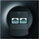 EPUAE8-8UPOK5+1753-0-0161 - Розетка интернет (Ethernet) двухместная, категория 5е, с лицевой панелью ABB Impuls (чёрный бархат)