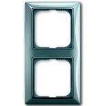 1725-0-1522 - Двухместная рамка с декоративной накладкой ABB Basic 55 (голубая)
