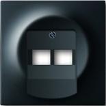 1753-0-0161 - Лицевая панель для розетки двойной телефонной/компьютерной, ABB Impuls (чёрный бархат)