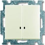 1012-0-2188 - Выключатель двухклавишный с подсветкой ABB Basic 55 (шале-белый)