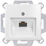 1753-0-0096 (1 шт.) + UAE8UPOK6 (1 шт.) - Розетка компьютерная Jung RJ-45, кат. 6, 1 выход, с лицевой панелью, ABB Basic 55 (белая)