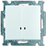 1012-0-2154 - Выключатель двухклавишный с подсветкой ABB Basic 55 (белый)