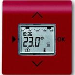 1032-0-0509+6430-0-0347 - Терморегулятор (термостат) электронный для тёплых полов, с таймером, 16А/250В, с лицевой панелью ABB Impuls (бордо)