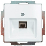 13010425 (1 шт.) + 1753-0-0096 (1 шт.) - Розетка телефонная FMT (RJ-11/12) 1 разъем ABB Basic 55 (белая)