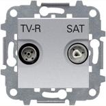 N2251.3 PL (1 шт.) + N2271.9 (1 шт.) - Розетка TV-R/SAT звезда, ABB Zenit (серебристая)