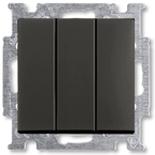1012-0-2173 - Выключатель трехклавишный ABB Basic 55 (шато-черный)