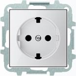 8188.9+2CLA858890A2101 - Розетка электрическая SCHUKO со шторками, 2К+З, с плоской поверхностью, 16А/250В, с накладкой ABB SKY (белое стекло)