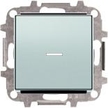 8110+2CLA819202A1001+2CLA850130A1301 - Переключатель одноклавишный проходной (перекрёстный) с подсветкой, 10А, с клавишей ABB Sky (серебристый алюминий)
