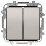 8111+2CLA851100A1301 - Выключатель двухклавишный, 10А, с клавишей ABB Sky (серебристый алюминий)