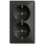 2021-0-0381 - Моноблок из двух розеток с заземлением, со шторками с безвинтовыми зажимами  на автоматических клеммах, ABB Basic 55 (шато-черный)